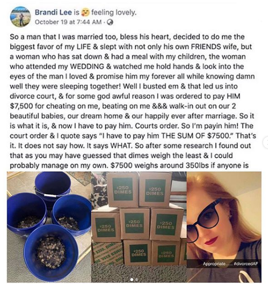 Lady pays her cheating husband's $7,500 divorce bill entirely in coins